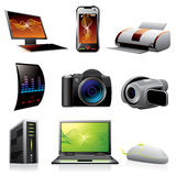 Ordenadores e iconos de la electrónica Imagenes de archivo