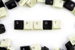 Ordenadores e inform?ticas en industrias y campos de la actividad humana - concepto deporte en un fondo blanco del foto de archivo
