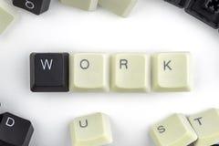 Ordenadores e inform?ticas en industrias y campos de la actividad humana - concepto trabajo La palabra se presenta en un blanco fotos de archivo