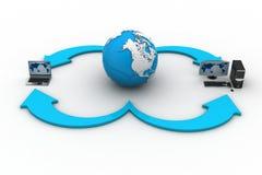 Ordenadores portátiles con el globo de la tierra en un fondo blanco
