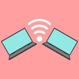 Ordenadores portátiles con el icono de Wi-Fi Fotos de archivo libres de regalías