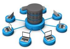 Ordenadores portátiles de la base de datos Foto de archivo libre de regalías