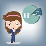80 20 ordenam, mulher de negócio que fala sobre o gráfico de Pareto, ilustração do vetor no projeto liso Imagens de Stock Royalty Free