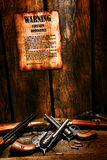 Ordenação e armas ocidentais americanas da arma de fogo da legenda Fotografia de Stock Royalty Free