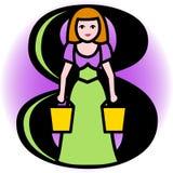 Ordenha de oito empregadas domésticas A/eps Imagem de Stock