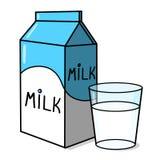 Ordenhe a caixa e um vidro da ilustração do leite Fotografia de Stock