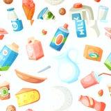 Ordenhe produtos alimentares do vetor da leiteria na bebida leitosa do alimento fresco orgânico gourmet leitoso liso da dieta da  ilustração stock