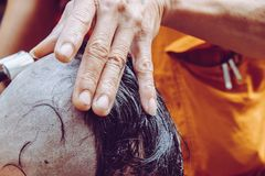 Ordeningsceremonie van Boeddhistische monnik Royalty-vrije Stock Foto