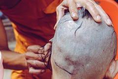 Ordeningsceremonie van Boeddhistische monnik Stock Afbeeldingen