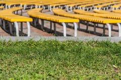 ordentliche Reihen von grünen Bänke auf einem Grashintergrund Lizenzfreies Stockbild