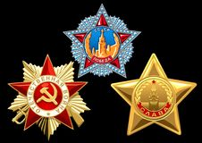 Order. Three orders - the award in the Great Patriotic War. A Stock Image