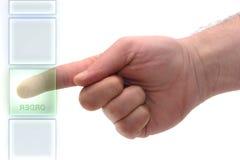 Order. Concept : Glass keypad. Order Key Stock Photos