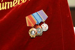 The order of the banner. The order of the Soviet times on the red banner of labour Royalty Free Stock Photos