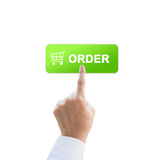 Order button with real hand Royalty Free Stock Photos