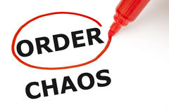 Order or Chaos. Choosing Order instead of Chaos. Order selected with red marker Royalty Free Stock Photo