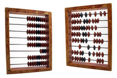 Order and chaos. Demonstration on abacus isolated on white Royalty Free Stock Photos