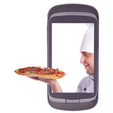 Order delivery pizza. Communicator, computer, connection Stock Photos