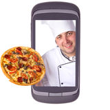 Order delivery pizza. Communicator, computer, connection Royalty Free Stock Photos