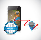 Order delivery using a smartphone. Royalty Free Stock Photos
