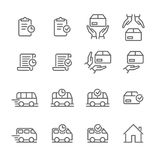 Order delivery vector logistics web shop line icon. Order delivery and logistics line icons set for online shop tracking web design. Vector symbols of order stock illustration