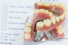Order denture for dental lab with dentures Stock Images