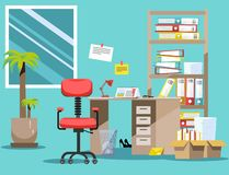 Order on the desktop. Pile of paper documents and file folders in cardboard boxes on the shelves. Flat vector illustration windows. Chair and waste-basket royalty free illustration