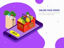 Order food, grocery online from app by smart phone. Fast deliver. Y. Isometric vector of groceries, bucket, smart phone. Can be used for advertisement vector illustration