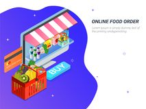Order food, grocery online from app by smart phone. Fast deliver. Y. Isometric vector of groceries, bucket, smart phone. Can be used for advertisement royalty free illustration