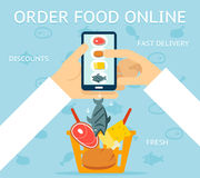 Order food online. Network and delivery, buy and retail, business concept, vector illustration Royalty Free Stock Photography