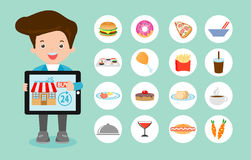 Order food online, online ordering and fast food delivery service, Network and delivery,business restaurant concept. Searching for recipes, ordering food Royalty Free Stock Photo