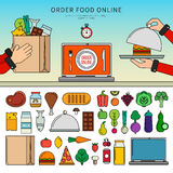 Order food online. Thin line flat design of different food. Icons for order food online apps, meat, fish, vegetables, fruits, fast food, cheese  on white Stock Image