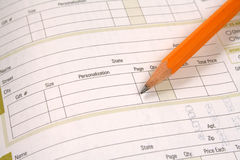 Order Form. Blank order form with pencil Royalty Free Stock Image