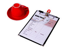 Order form clipboard with red cup of coffee. Royalty Free Stock Photos