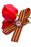 Order, George ribbon and tulips Stock Photo