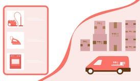 Order goods online Warehouse delivery Online store. Vector illustration with order goods online. Warehouse, delivery. Cargo Delivery. Online store.  Shopping stock illustration