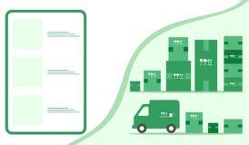 Order goods online Warehouse delivery Online store. Vector illustration with order goods online. Warehouse, delivery. Cargo Delivery. Online store.  Shopping vector illustration