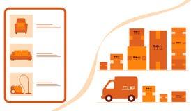 Order goods online Warehouse delivery Online store. Vector illustration with order goods online. Warehouse, delivery. Cargo Delivery. Online store.  Shopping royalty free illustration