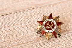The order of the Great Patriotic war on an wooden table. Filmed in Minsk, Belarus may 9,2018.  royalty free stock image