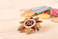 The order of the Great Patriotic war on an wooden table. Filmed in Minsk, Belarus  may 9,2018.  royalty free stock photography