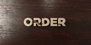 Order - grungy wooden headline on Maple - 3D rendered royalty free stock image. This image can be used for an online website banner ad or a print postcard royalty free illustration