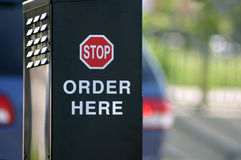 Order Here. A photograph of a fast food ordering speaker taken in Oklahoma City royalty free stock image