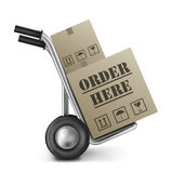 Order here internet web shop cardboard box Royalty Free Stock Photo