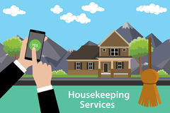 Order housekeeping services apps with smartphone on hand Stock Images