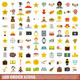 100 order icons set, flat style Royalty Free Stock Photography