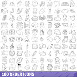100 order icons set, outline style Royalty Free Stock Photo