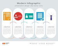 Order management infographics design. Infographics design  and order management, water resistant, personal details, terms and conditions, sprinkler icons can be Royalty Free Stock Photos