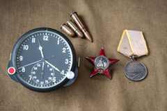 Order, medal, live ammunition, aviation onboard watch Royalty Free Stock Photos