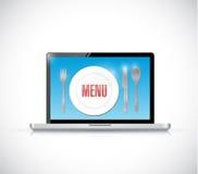 Order menu on a laptop illustration Royalty Free Stock Photos