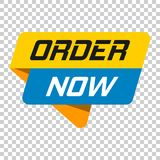 Order now banner badge icon. Vector illustration on isolated tra. Nsparent background. Business concept order now pictogram Stock Image