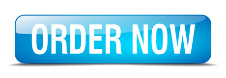 Order now blue square 3d realistic web button. Order now blue square 3d realistic isolated web button Stock Photo